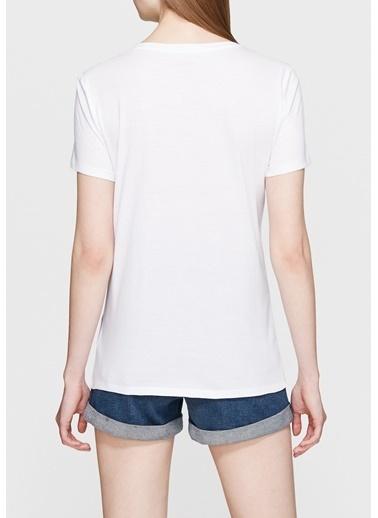 Mavi Baskılı Tişört Beyaz